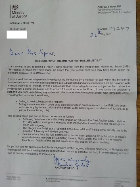 Letter Selous to Spear 26 May 2016