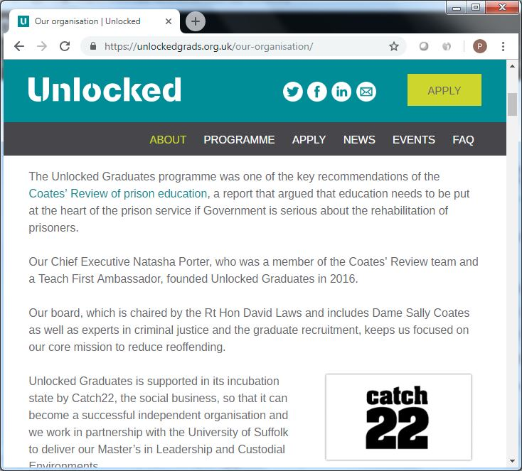 unlockedgrads dot org dot uk our organisation [recommendations] screenshot 22 Sept 2018