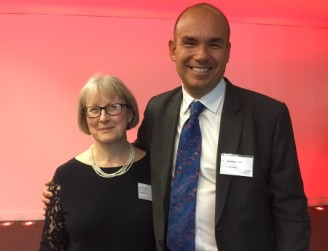 faith spear with michael woodford at contrarian prize lecture in london 450px